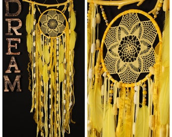 dreamcatchers yellow wall hanging Feather Dreamcatcher Gift dreamcatchers wall Boho style catcher dreamcatcher sun dreamcatcher yellow decor