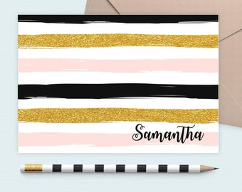 Personalized glitter striped notecard, personalized stationary, note cards ,custom note cards, folded note cards, monogram note cards,