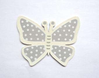 Butterfly wood medium - light grey color with white polka dots with raw edges
