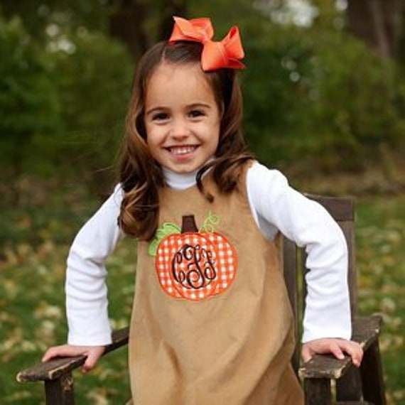 Girls Pumpkin Applique Dress, Girls Thanksgiving Dress, Perfect for Fall and Thanksgiving