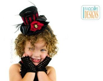 CROCHET PATTERN, Victorian Goth, Steampunk Style Mini Top Hat and Mittens, Crochet PDF Pattern by Ira Rott