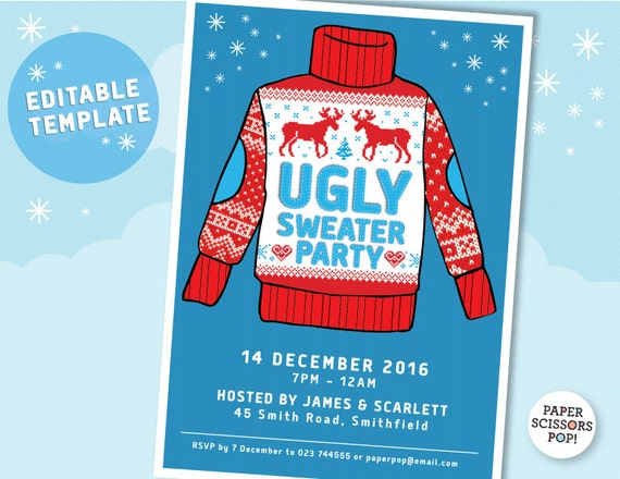 Ugly Sweater Party Invitation Template Editable Printable - Party invitation template: ugly sweater party invite template