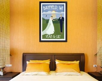 "Custom Vintage 12""x18"" ""Along the Shore"" Wedding Poster - Free Shipping"