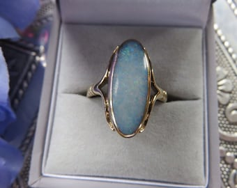 Vintage 9ct Gold Opal Ring, Size Q1/2 Statement Ring, Engagement ring, Vintage, Opal, Opal Ring, Vintage Ring, Opal