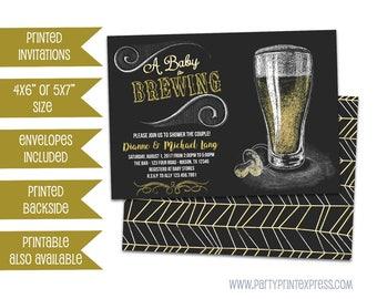 Baby Brewing Shower Invitation - Baby Is Brewing Invitations - Chalk Beer Baby Shower Invite - Couples Shower - BBQ Shower Invite Boy Girl