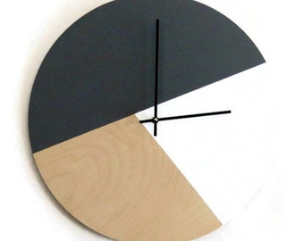 Modern Wall Clock, Gray and White Home Decor,  Home and Living, Unique Wall Clock