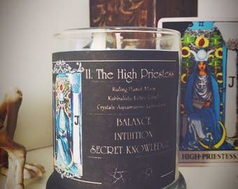 THE HIGH PRIESTESS Tarot Candle - Spell Candle - Magick - Witchcraft - Rider Waite - Labradorite