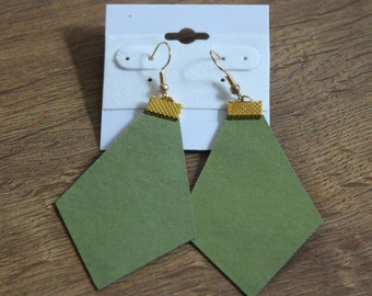 Naked Phoenix Leather Earrings - Sage Green
