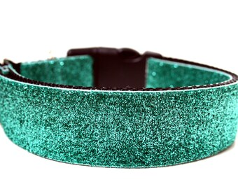 "Aqua Dog Collar 1.5"" Glitter Dog Collar"