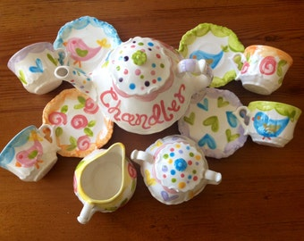 Whimsical Birds Mix-N-Match Tea Party Little Girl's Child's Tea Set & 4 Tea Cups Handpainted...Birdies, hearts, flowers and more