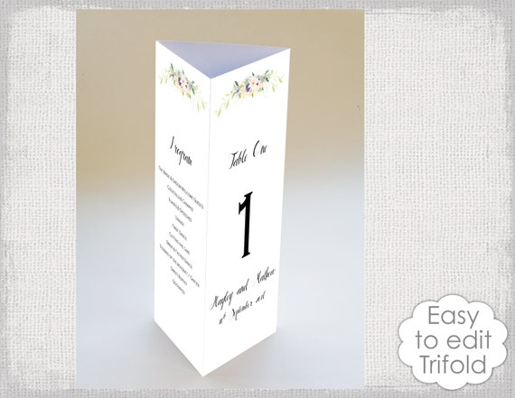 Trifold Wedding Table Card Template Eden Flower - Tri fold table tent template