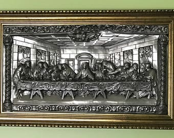 "The Last Supper Metal Art High Relief 30"" Large Wall Plaque Embossed Framed Unique Vintage"
