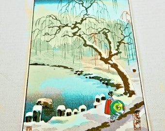 Woman & Willow // Japanese WOODBLOCK hand printed Illustration for an ART Book 1938 // Winter scenery KIMONO woman at Water // Washi paper