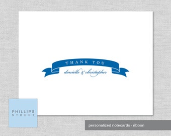 personalized thank you cards - RIBBON - notecards - mother's day gift - newlyweds - personalized stationery - custom -  SET OF 10