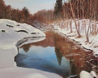 "Liquid Mirror / Водяне дзеркало - painting, oil on canvas, 50 x 40 cm / 19.7"" x 15.7"""