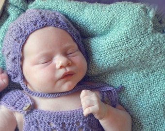 CROCHET PATTERN- Reece Bonnet and Overalls; Newborn Photography Prop; Cabled Crochet Pattern; Crochet Baby Clothes