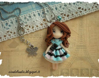 Princess doll necklace -Polymer clay romantic Lady- From Paris with love collection