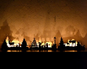 Christmas light Christmas ornaments  fireplace decorations. Christmas morning. Wooden candlestick