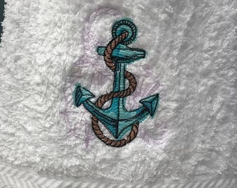 Hand Towel - Embroidered Anchor