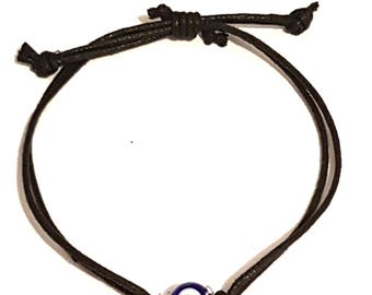 Handmade Evil Eye Grecian Glass Bracelet On a Fully Adjustable Waxed Cord For Personal Protection