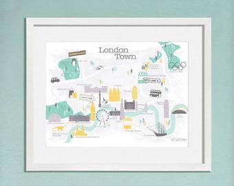 London Map / Map Print / London Print / Gift For Travelers / London Art / Travel Gift / Illustrated Map / Travel Art / Map Of London / Retro