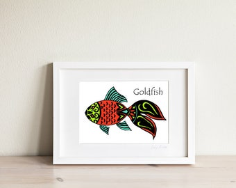 Goldfish Art Print, Goldfish Art, Fish Art, Fish Print, Fish Drawing, Ocean Art, Nautical Art, Kids Art, Kids Prints