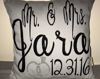 Mr and Mrs personalized pillow