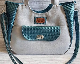 Worn Ruby, and shoulder bag, gray suede and leather mosaic blue grey fabric, shiny scales tend blue