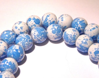 50 beads in glass - 8 mm - blue sky F145 3