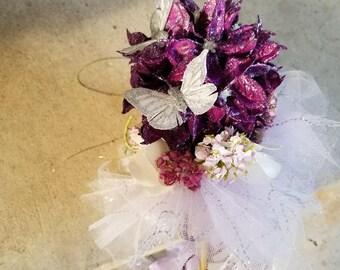 Purple Silver Glitter Tutu Pom Wand