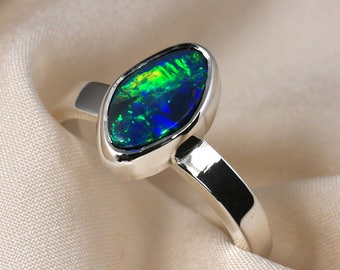 Opal Ring in Sterling Silver - Green Blue and Yellow Fire