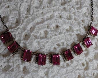 Handset Swarovski Pink Rectangle Crystal Necklace
