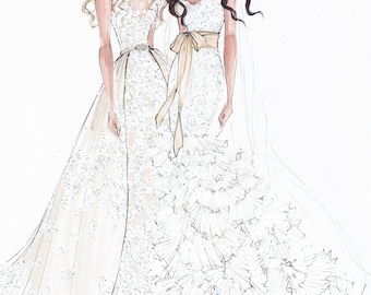 Best friend brides Custom Wedding Gown Illustration 2 BODIES