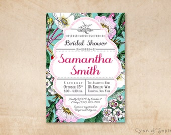 Printable Bridal Wedding Shower Invitation - 5x7 - Vintage Wild Roses - Aqua Blue Pink Retro Floral Flowers Bright Spring Customized DIY