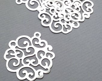 1 lot 2 metal steel prints pendants stainless 28x26mm