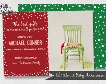 Personalized Photo Christmas Baby Announcement - Digital Birth Announcement