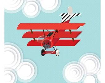 Fokker Triplane Print, Red Baron, Aircraft Art, WWI