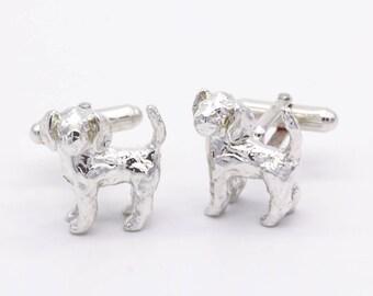 Beagle 3D Sterling Silver Cufflinks