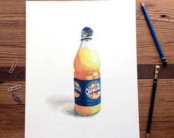 Orangina in Glass - 11x14 Seltzer Watercolor Print - Affordable Kitchen Statement Art Food Lemon Sparkling Water Can  Still Life