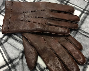 Vintage 1960's Leather Gloves Brown Size Medium Cheap UK & Worldwide Postage