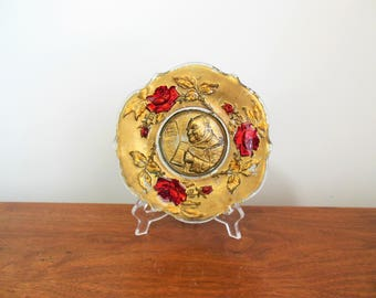 Goofus Glass Monk Drinking from a Tankard Plate Small Gold with Red Roses Platter Man Drinking in Center