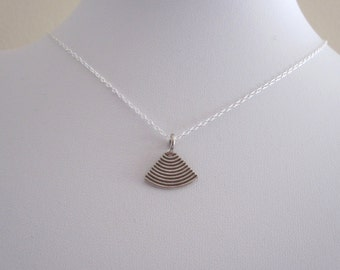 Small FAN oxidized sterling silver charm necklace, delicate everyday necklace