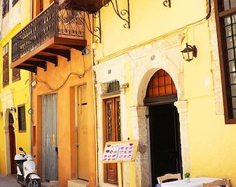 Greek European Photography - Wall Decor - Fine Art Photography Print - Greece, Yellow, Orange, Cafe