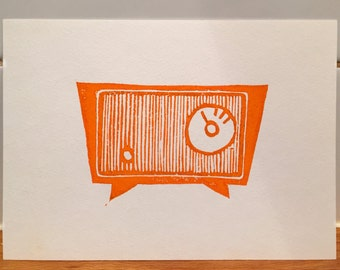 Vintage radio - Linocut - Print - Graphic Design