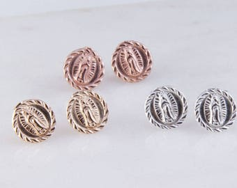 Our Lady of Guadalupe Stud Earrings, Silver, Gold Filled and Rose Gold Filled, Religion Catholic Charms, Round Stud Earrings, GFER159