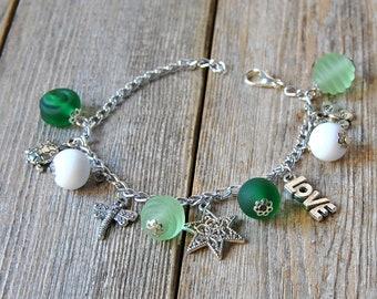 Glass beads bracelet, beaded aluminium bracelet, lampwork bracelet, adjustable bracelet, lampwork jewelry, charms and beads, gift for her