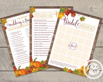 INSTANT DOWNLOAD: Bridal Shower Game Bundle - Fall In Love