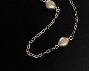 Silver Pebble Necklace Long