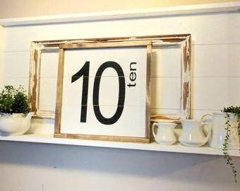 Rustic farmhouse inspired family number LARGE shiplap sign