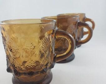 Vintage Fire King, Anchor Hocking, Brown Glass Kimberly Mugs, Kimberly Fireking mugs, Collector Mugs, Retro Bumpy Mugs
